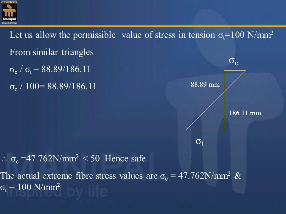 Let us allow the permissible value of stress in tension σt=100 N/mm2