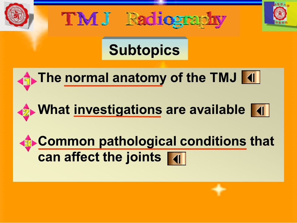 Subtopics The normal anatomy of the TMJ