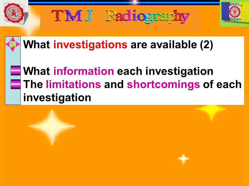 What investigations are available (2)
