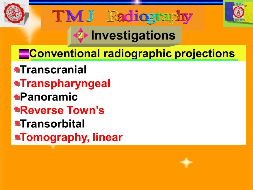 Investigations Conventional radiographic projections