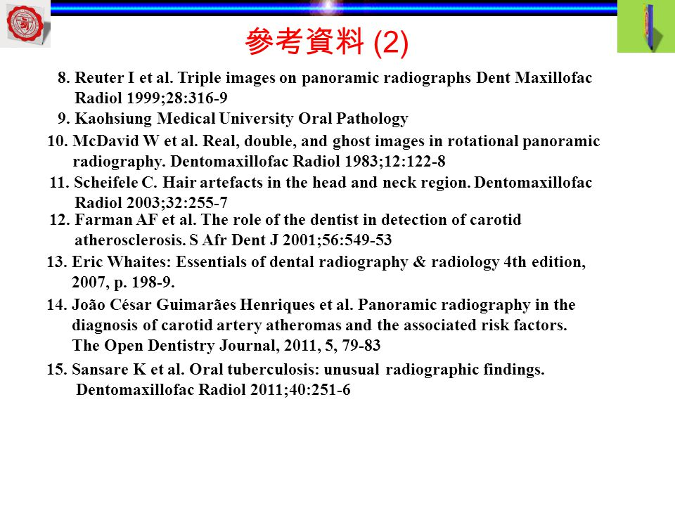 參考資料 (2) 8. Reuter I et al. Triple images on panoramic radiographs Dent Maxillofac. Radiol 1999;28:316-9.