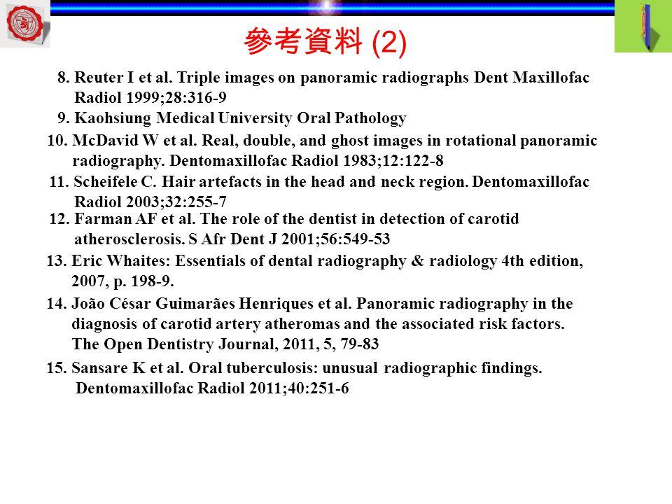 參考資料 (2) 8. Reuter I et al. Triple images on panoramic radiographs Dent Maxillofac. Radiol 1999;28:316-9.