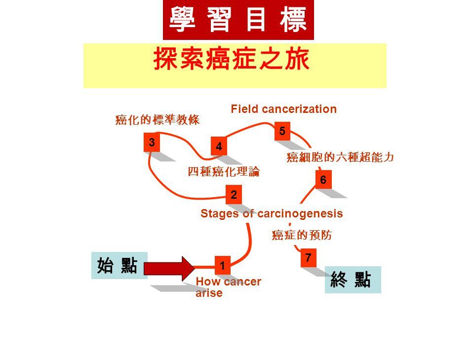 學 習 目 標 探索癌症之旅 始 點 終 點 Field cancerization 癌化的標準教條 5 3 4 癌細胞的六種超能力