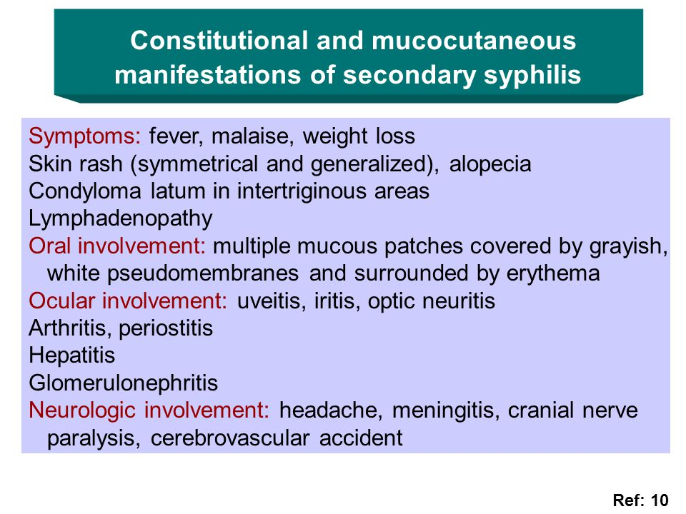 Constitutional and mucocutaneous manifestations of secondary syphilis
