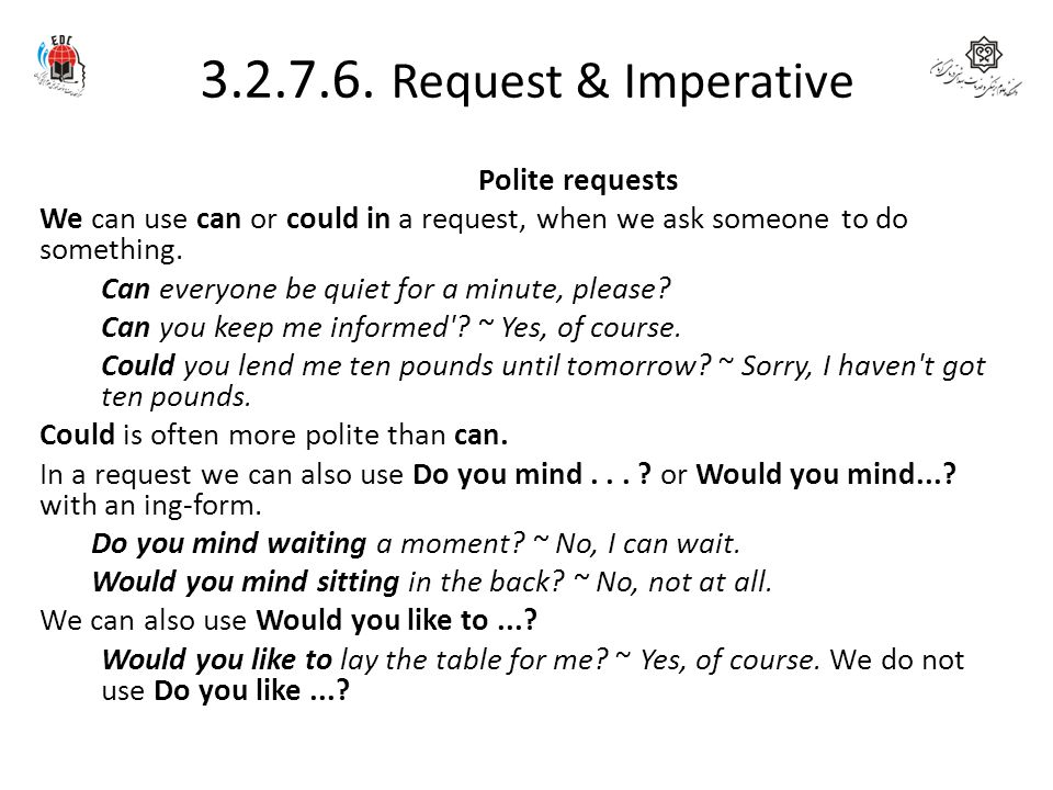 3.2.7.6. Request & Imperative