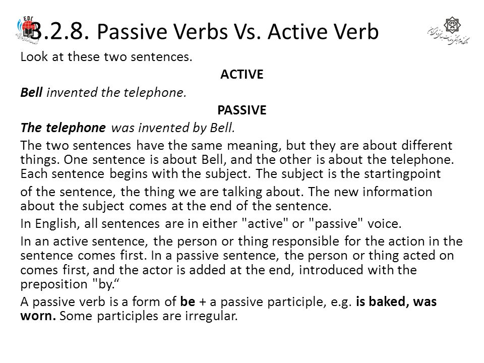 3.2.8. Passive Verbs Vs. Active Verb