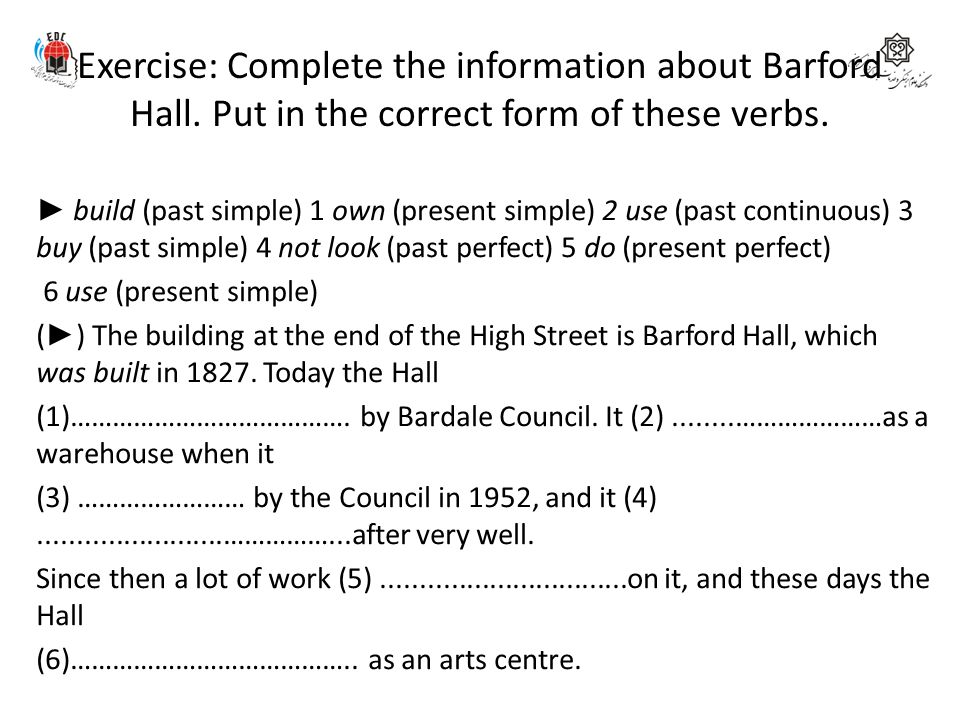 Exercise: Complete the information about Barford Hall