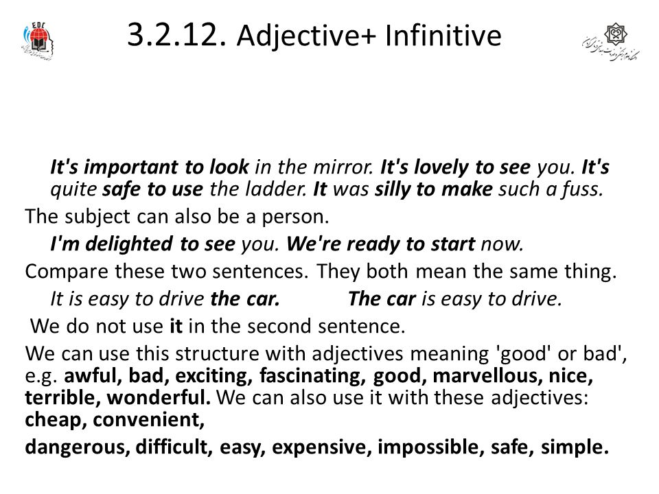 3.2.12. Adjective+ Infinitive
