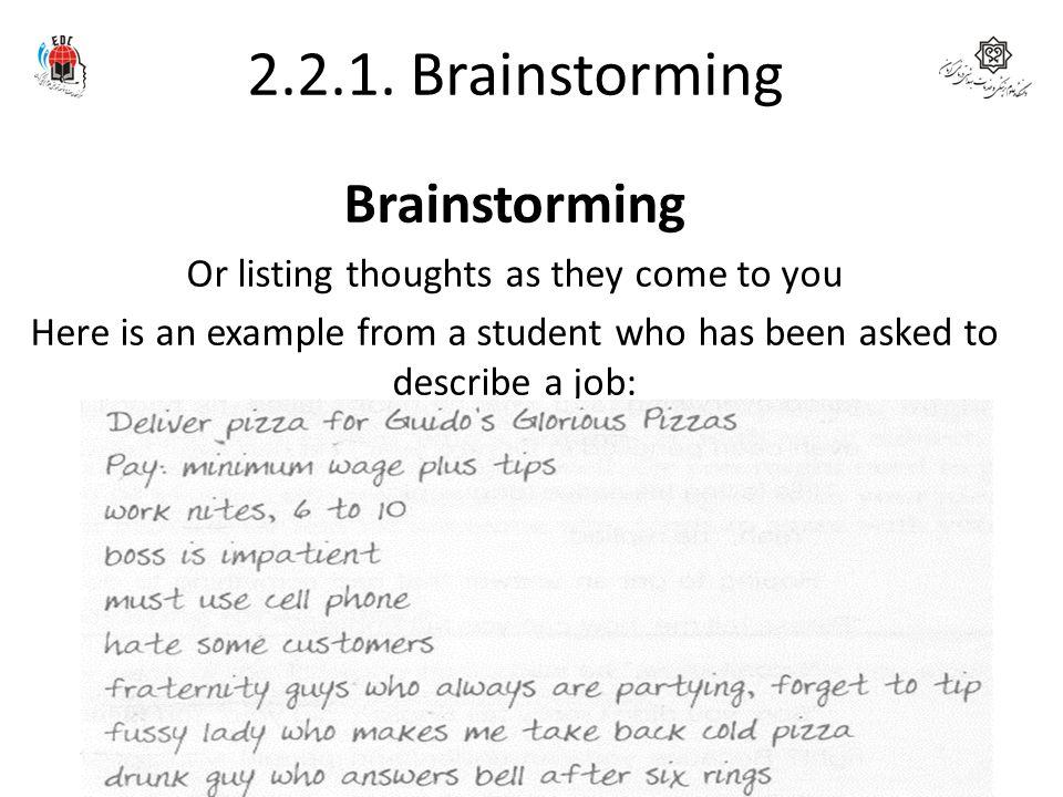 2.2.1. Brainstorming Brainstorming