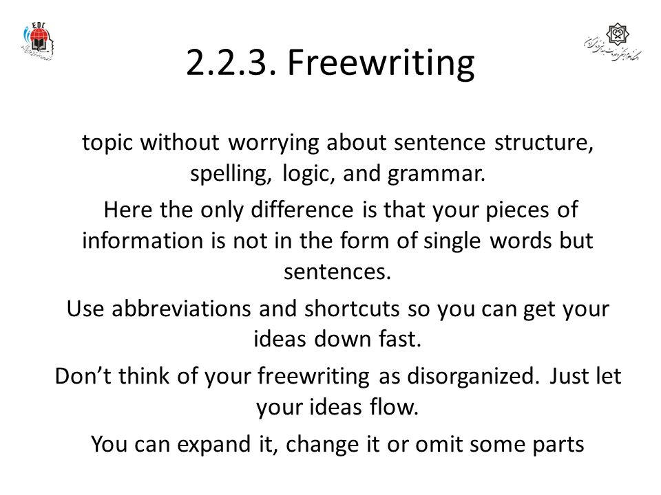 2.2.3. Freewriting