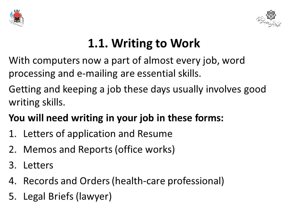 1.1. Writing to Work With computers now a part of almost every job, word processing and e-mailing are essential skills.
