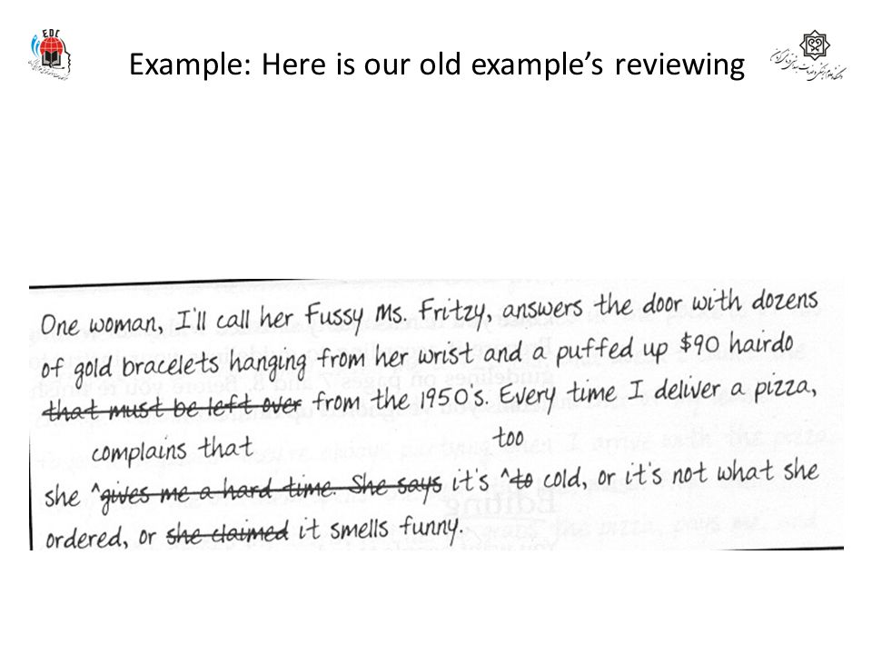 Example: Here is our old example's reviewing