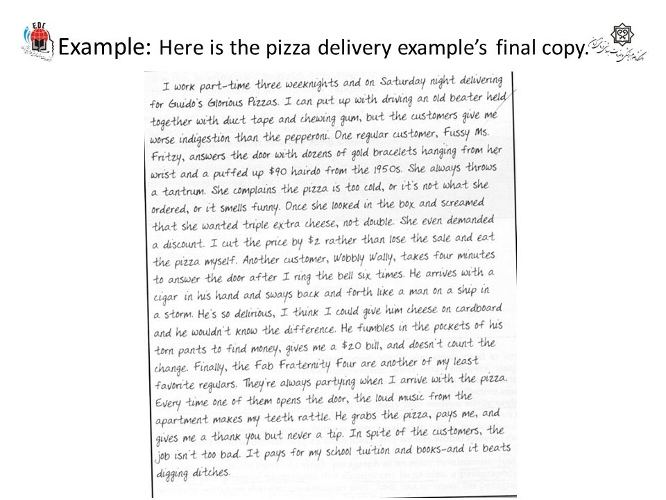 Example: Here is the pizza delivery example's final copy.