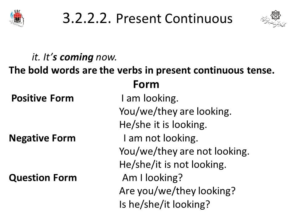 3.2.2.2. Present Continuous Form