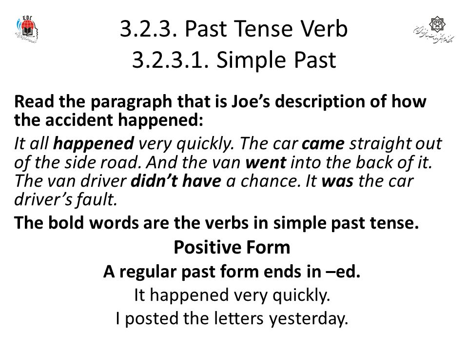 3.2.3. Past Tense Verb 3.2.3.1. Simple Past