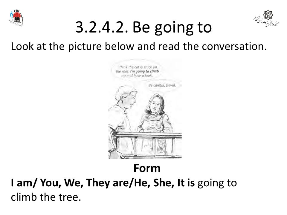 3.2.4.2. Be going to Look at the picture below and read the conversation. Form. I am/ You, We, They are/He, She, It is going to.