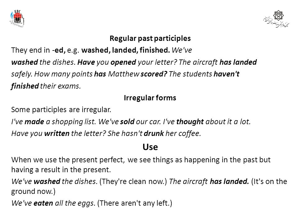 Regular past participles