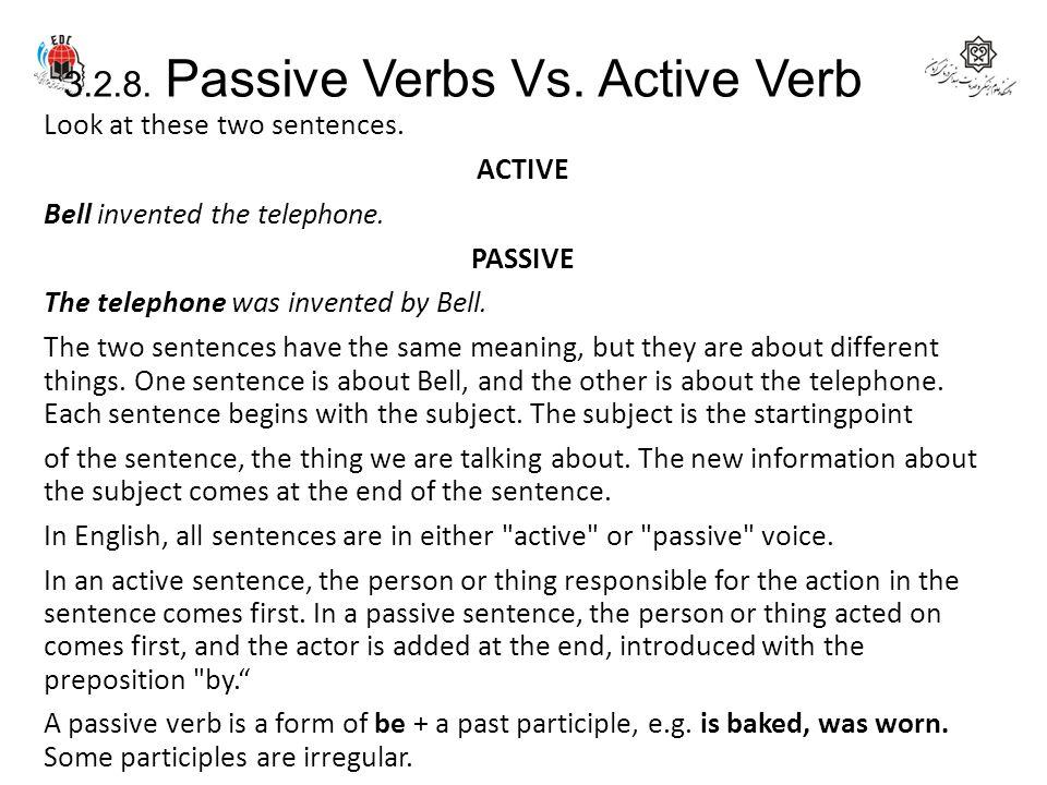 3.2.8. Passive Verbs Vs. Active Verb