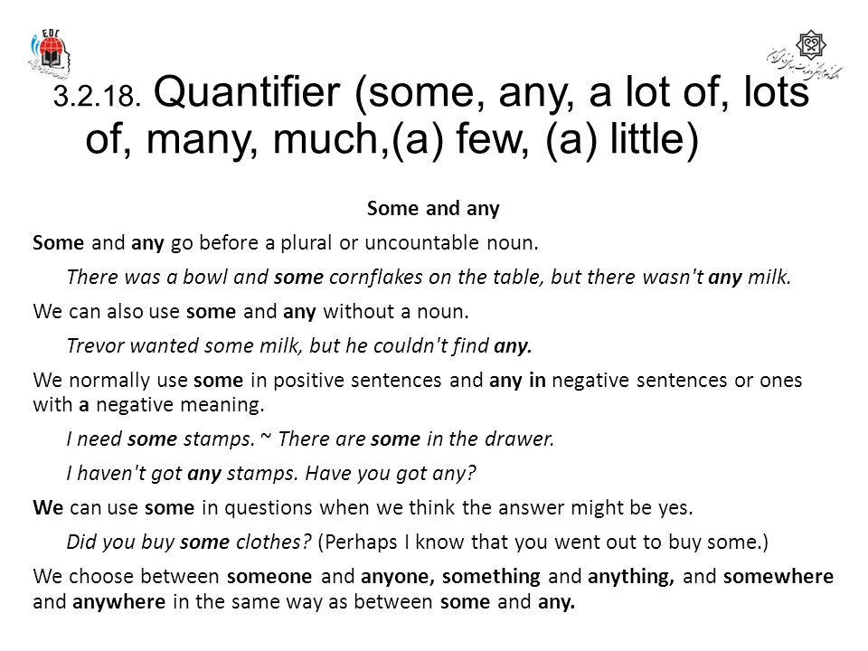 3.2.18. Quantifier (some, any, a lot of, lots of, many, much,(a) few, (a) little)