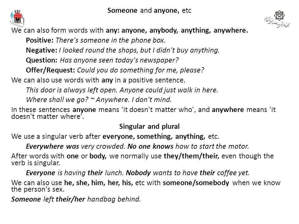 Someone and anyone, etc We can also form words with any: anyone, anybody, anything, anywhere.