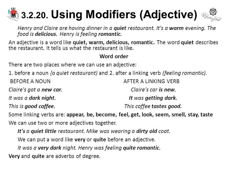 3.2.20. Using Modifiers (Adjective)