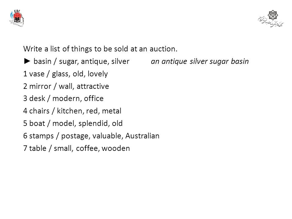 Write a list of things to be sold at an auction