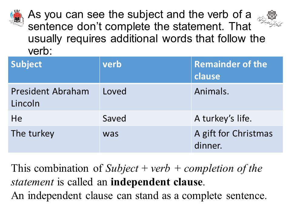 An independent clause can stand as a complete sentence.