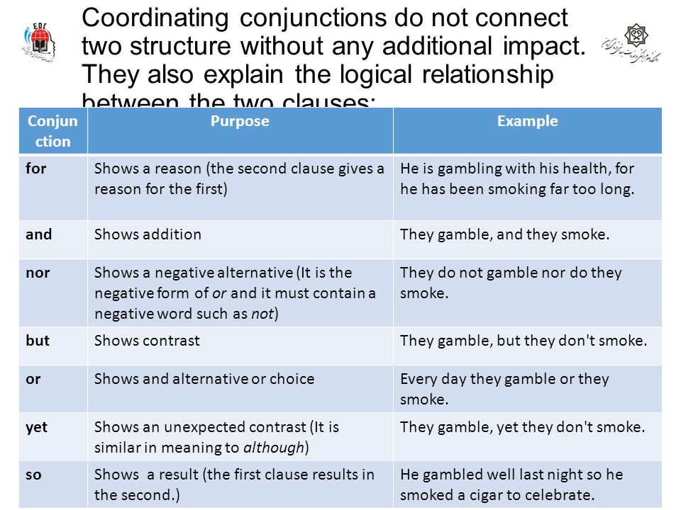 Coordinating conjunctions do not connect two structure without any additional impact. They also explain the logical relationship between the two clauses:
