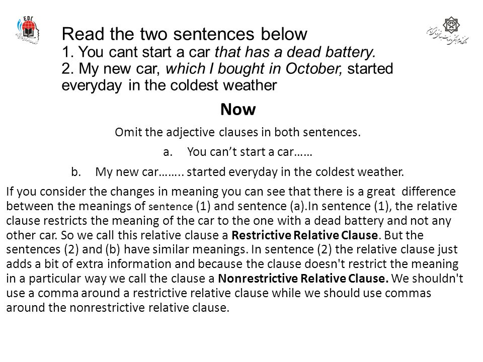 Read the two sentences below 1