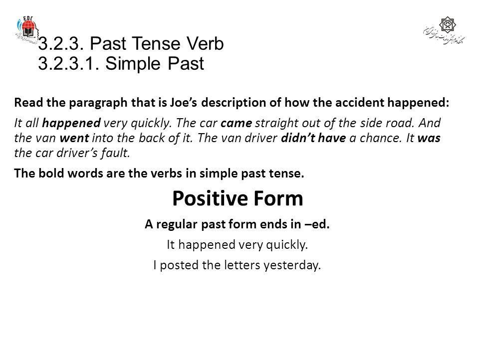 3.2.3. Past Tense Verb 3.2.3.1. Simple Past