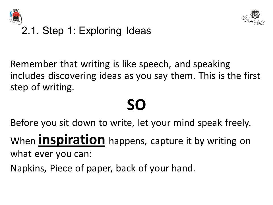 SO 2.1. Step 1: Exploring Ideas