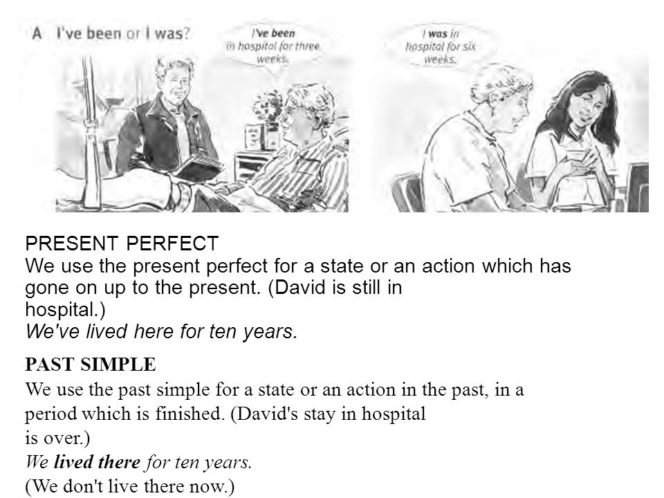 PRESENT PERFECT We use the present perfect for a state or an action which has gone on up to the present. (David is still in hospital.) We ve lived here for ten years.