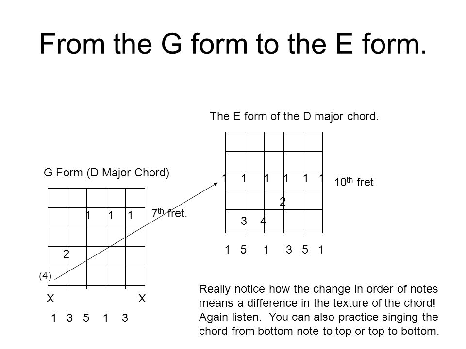 From the G form to the E form.