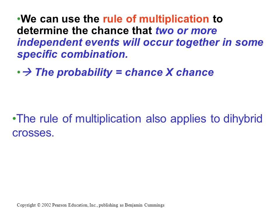 The rule of multiplication also applies to dihybrid crosses.