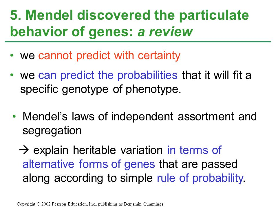 5. Mendel discovered the particulate behavior of genes: a review