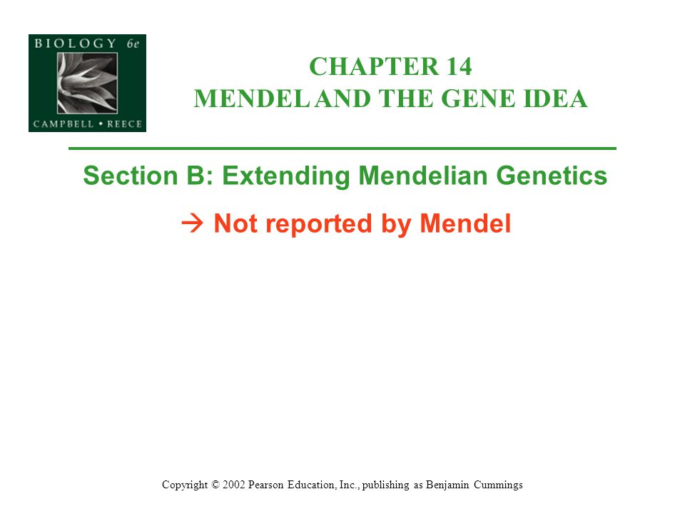 CHAPTER 14 MENDEL AND THE GENE IDEA