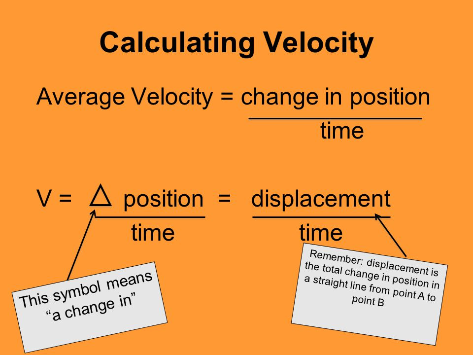 Calculating Velocity Average Velocity = change in position time
