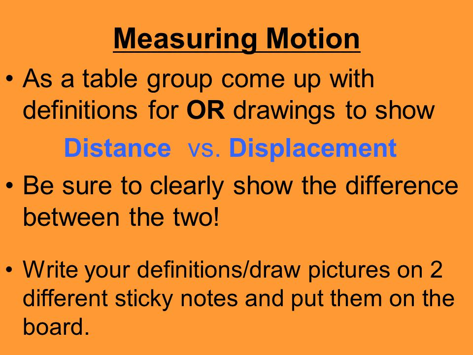 Measuring Motion As a table group come up with definitions for OR drawings to show. Distance vs. Displacement.