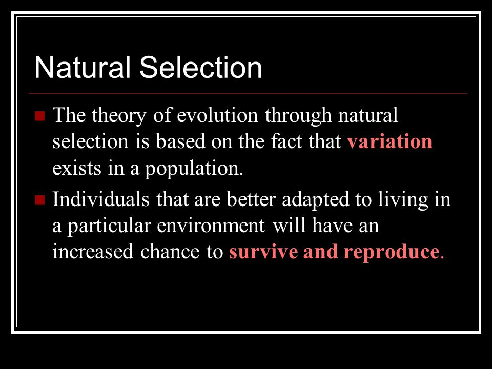 Natural Selection The theory of evolution through natural selection is based on the fact that variation exists in a population.