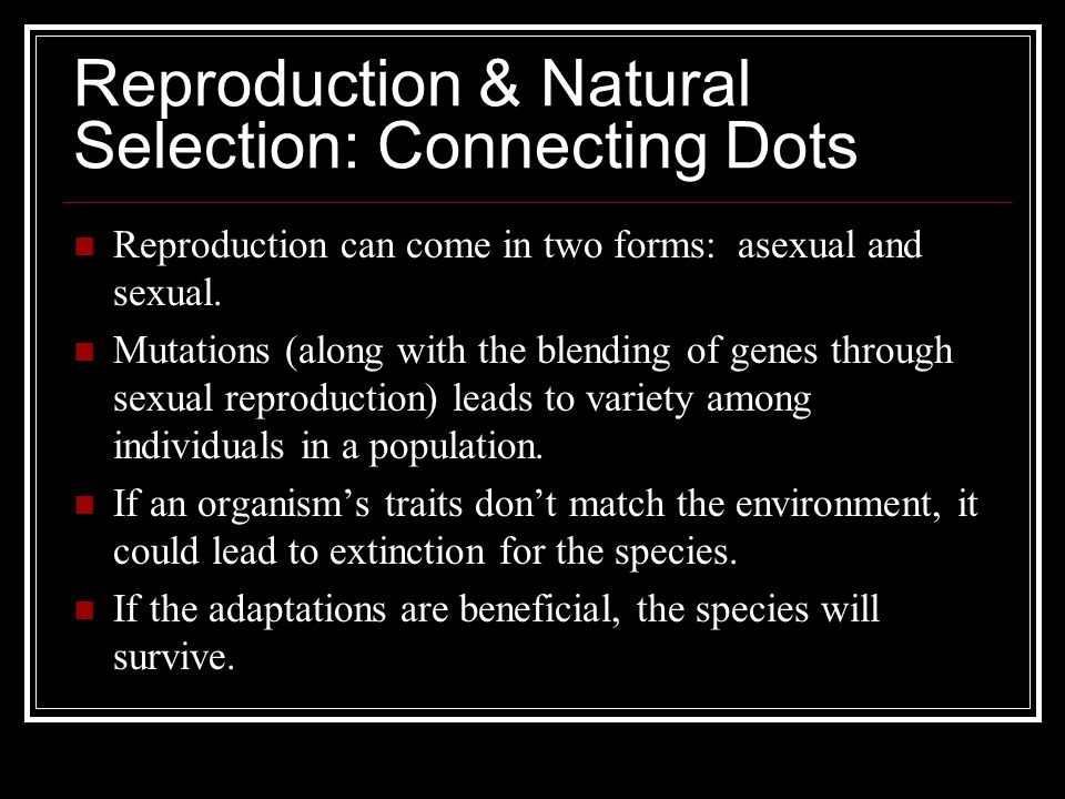 Reproduction & Natural Selection: Connecting Dots