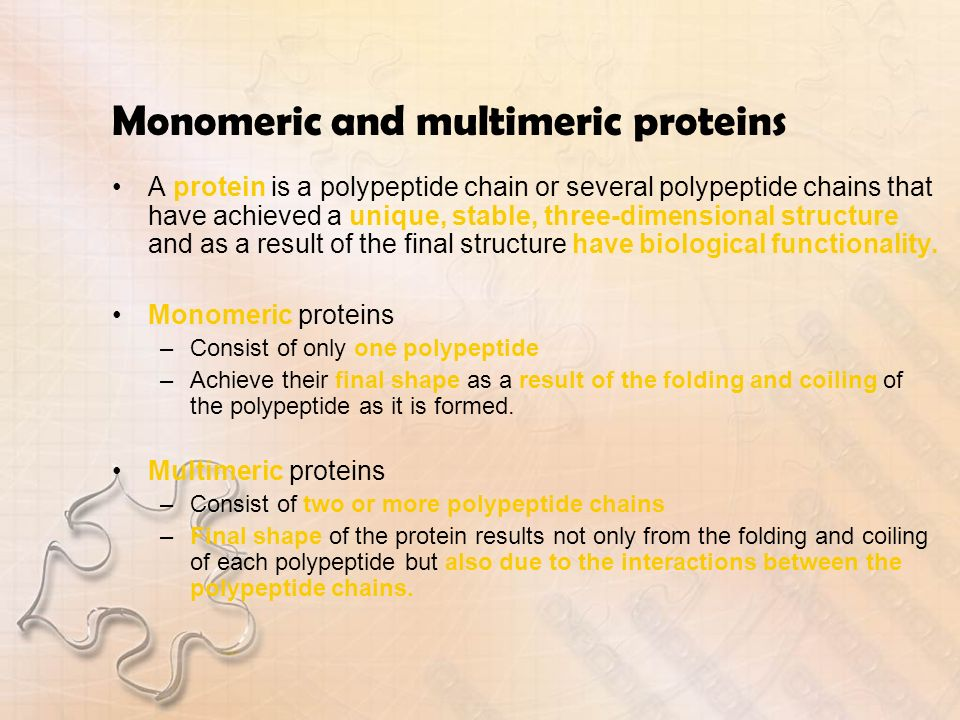 Monomeric and multimeric proteins