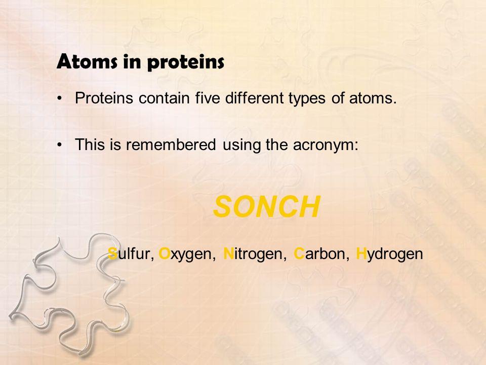 Sulfur, Oxygen, Nitrogen, Carbon, Hydrogen