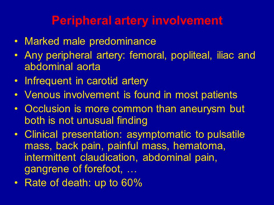Peripheral artery involvement