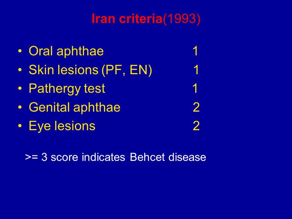 Iran criteria(1993) Oral aphthae 1 Skin lesions (PF, EN) 1