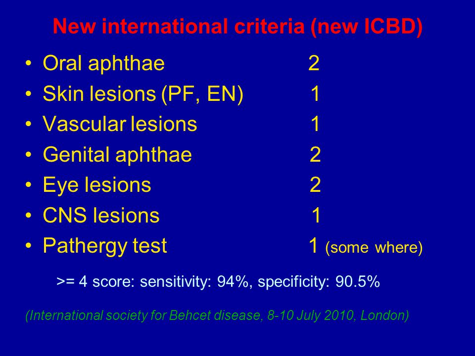 New international criteria (new ICBD)