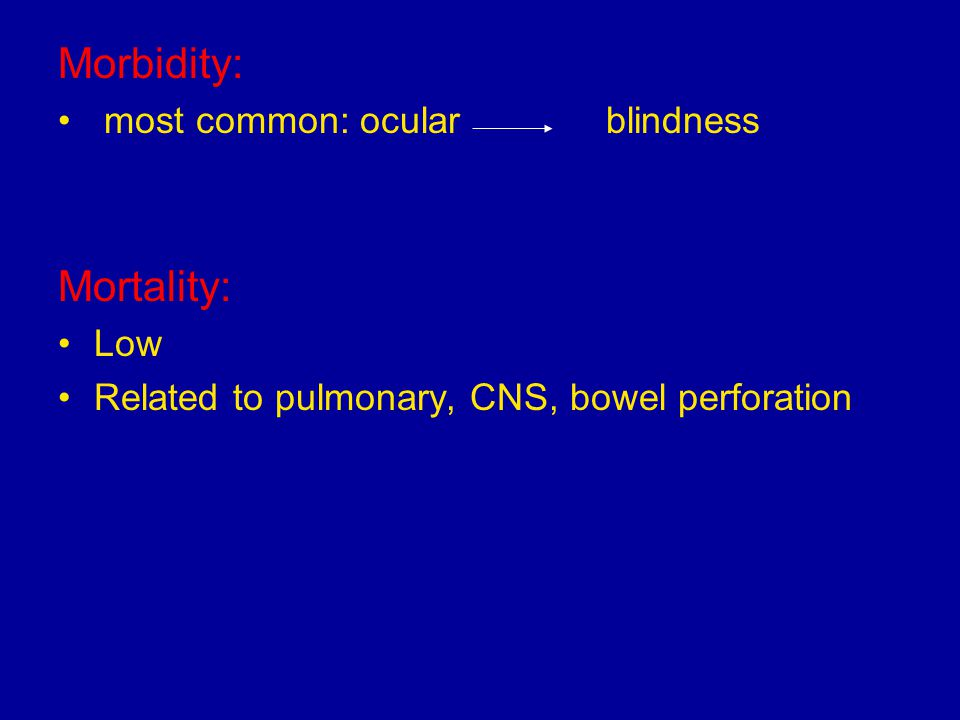 Morbidity: Mortality: most common: ocular blindness Low