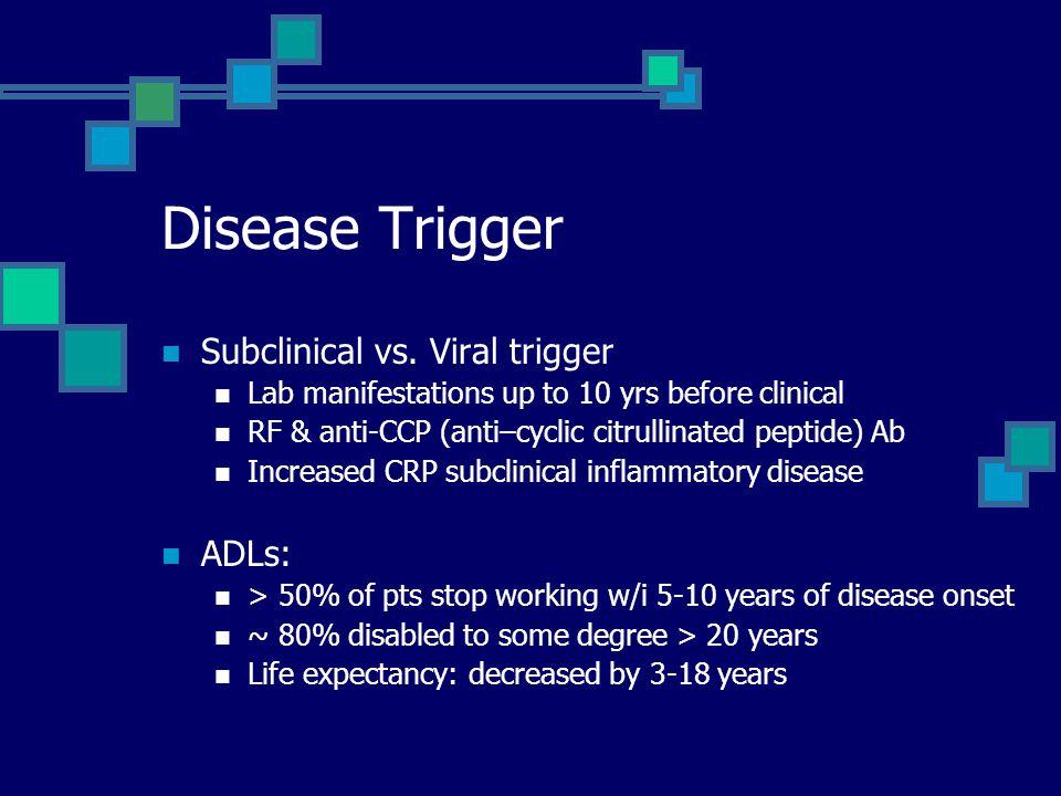 Disease Trigger Subclinical vs. Viral trigger ADLs: