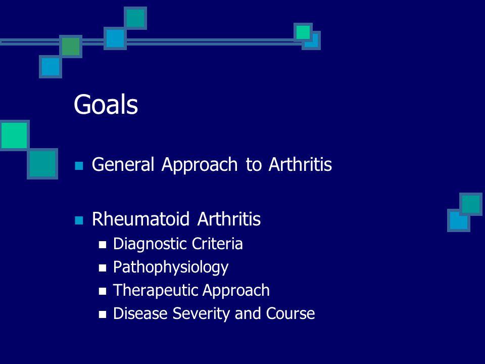 Goals General Approach to Arthritis Rheumatoid Arthritis