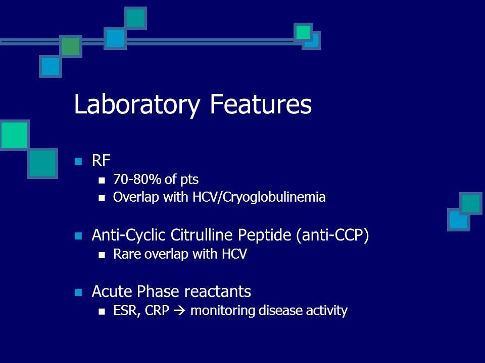 Laboratory Features RF Anti-Cyclic Citrulline Peptide (anti-CCP)