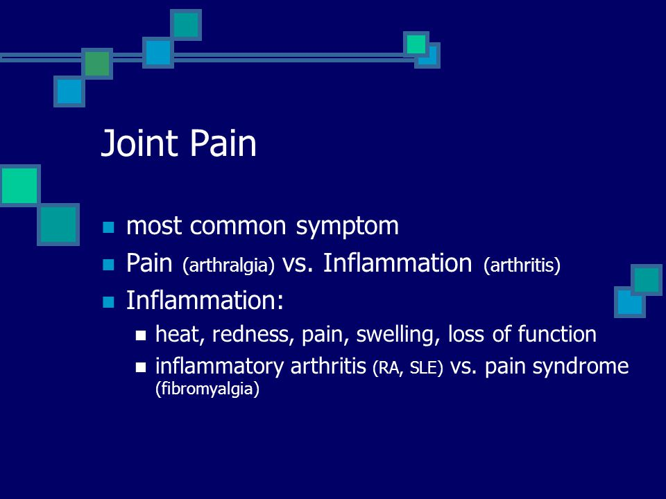 Joint Pain most common symptom